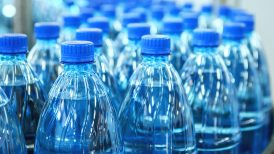 bottled water on assembly line