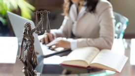 Female attorney working at desk