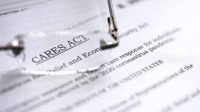 Close up of CARES Act document