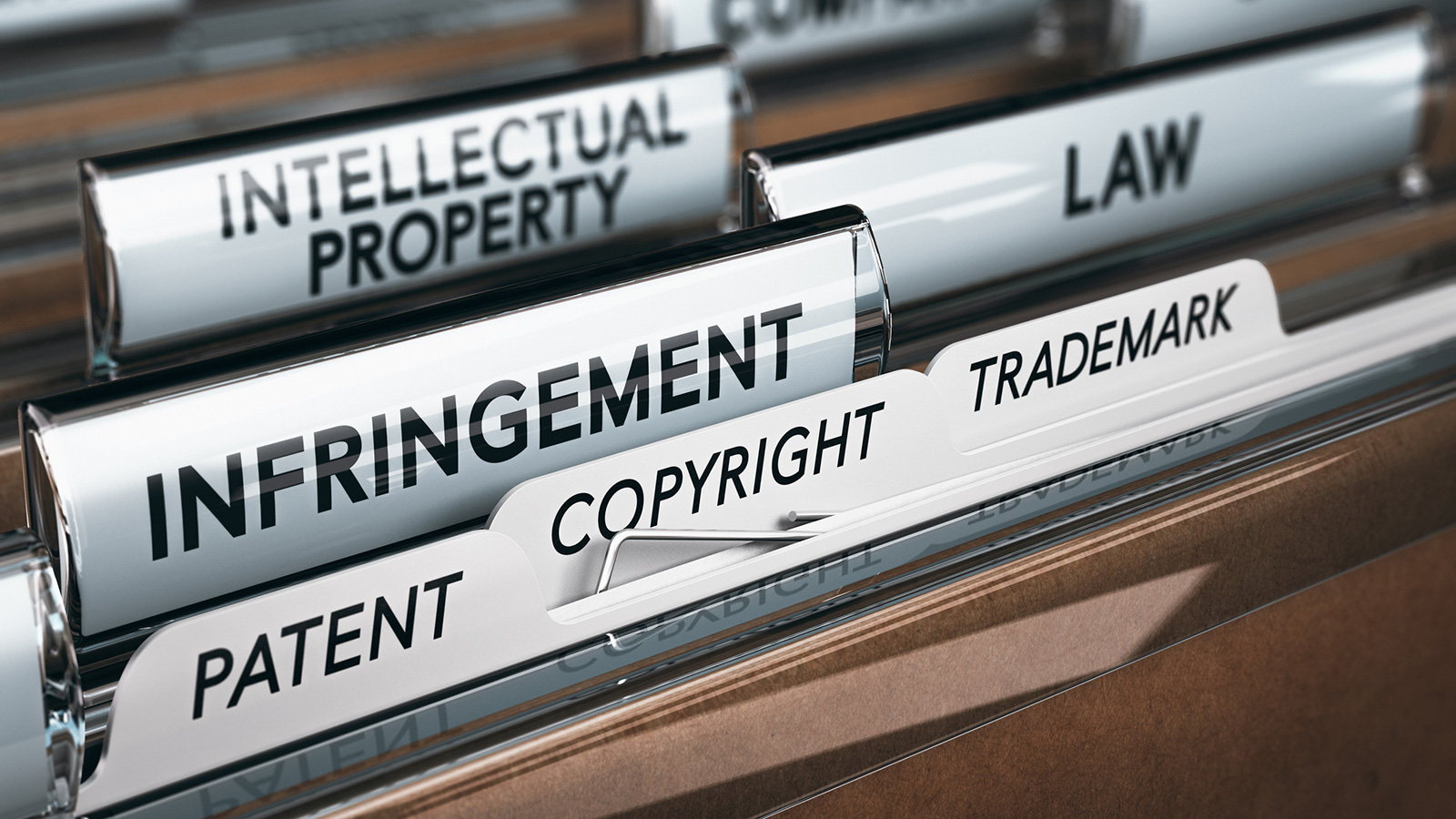 File folders with copyright labels