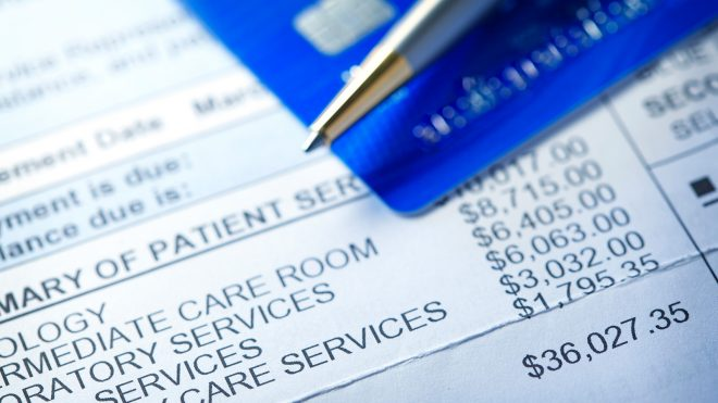 Hospital bill with costs highlighted