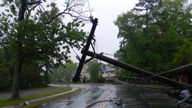 Damaged power lines after hurricane Laura