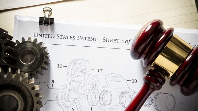 Close up of a patent application