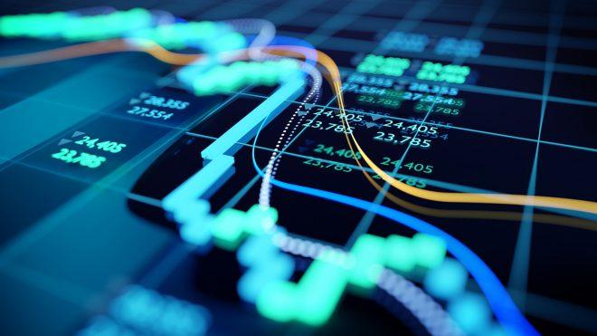 Close up shot of a digital stock market tracking graph