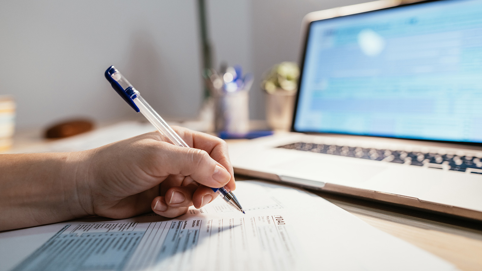 Person reviewing tax documents