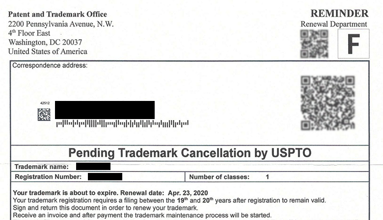 Sample of an IP scam notification letter